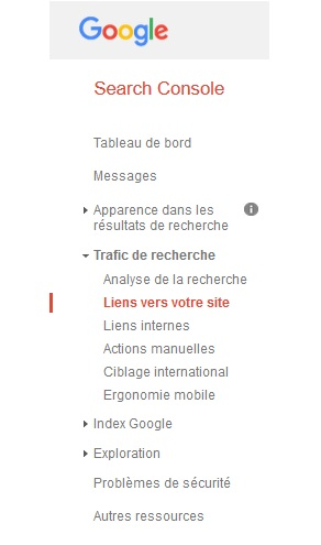 Imprim écran de la composition du menu de la Search Console